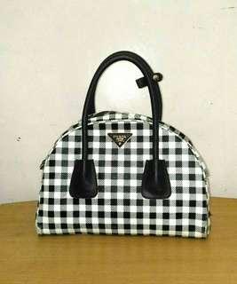 Vintage Prada Jacquard Check Small Bowler Bag in Black