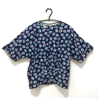 Mayoutfit Leaves blouse navy