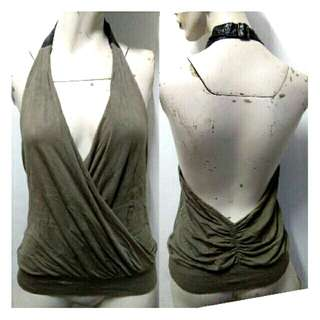 SALE preloved sexy haltered backless grayishbrown cotton top