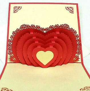 Instock: Pop Up Card Deep Pink Love Heart Mother's Day / Valentines / Anniversary / Engagement