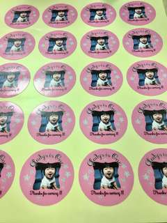 Baby Girl Pink Stars Photo Stickers 20pc  - Custom Message