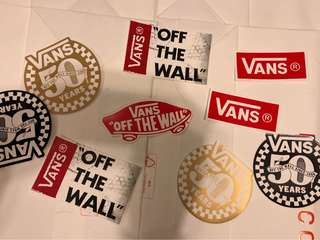 Lot of 9 vans 50th years stickers off the wall (包平郵)