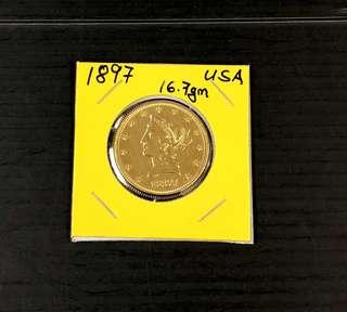 USA Gold coin Ten D 1897 (16.7gm).