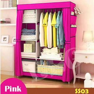 OFFER SALE - Non-Woven / Canvas Wardrobe (Pink)