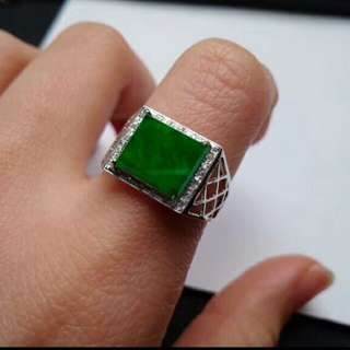 🍍18K White Gold - Grade A 冰种 Icy Green Rectangle Cabochon Jadeite Jade Man's Ring🍍