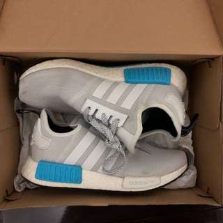 Adidas NMD white and blue sneakers