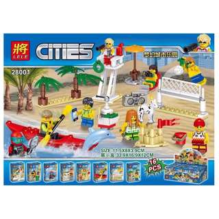 LELE™ 28001 City People Pack Fun at the Beach 8in1 Minifigures Sets