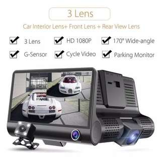 Car Camera 3 Lens (Front, Inside, Rear) - Night Vision, Motion Detection, Loop Recording, 4 Inch LCD