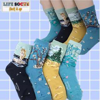 World Famous Paintings Socks Harajuku Collection A
