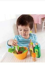 BN Hape Garden Salad Wood Kitchen Play Food Set