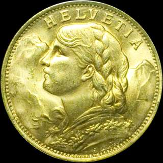Swiss gold 20 Franc Vreneli (Helvetia) 1935 Re-strike BU