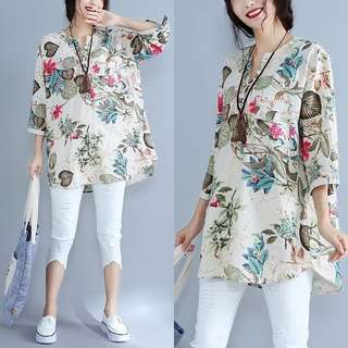 Plus Size Cotton and linen ethnic style loose short-sleeved T-shirt shirt