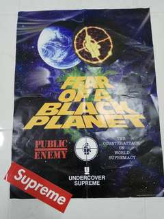 "Supreme X Undercover Public Enemy "" FEAR OF A BLACK PLANET"" Poster + Supreme Red Box Logo Sticker"