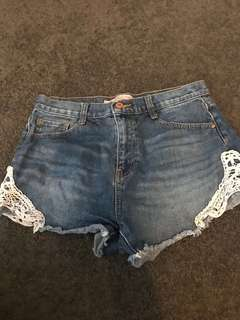 Zara denim and lace high-wasted shorts