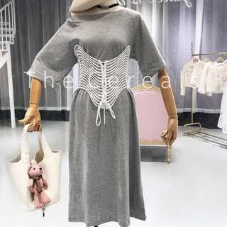 TC2190 Korea Designer Long Shirt Dress + Designer Belt (Grey,Black)