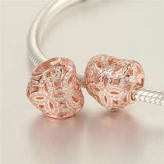 Code SS763 - Rosegold Heart Love Openwork 100% 925 Sterling Silver Charm, Chain Is Not Included, Compatible With Pandora