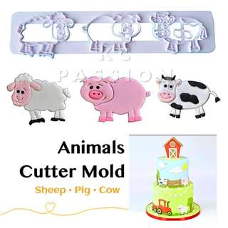 🐑 ANIMAL CUTTER MOLD TOOL [Sheep • Pig • Cow] Cake Decorating Tool for Cookies • Fondant Cake & Cupcake • Bread Dough • Pastry • Sugar Craft • Jelly • Gum Paste • Polymer Clay Art Craft •