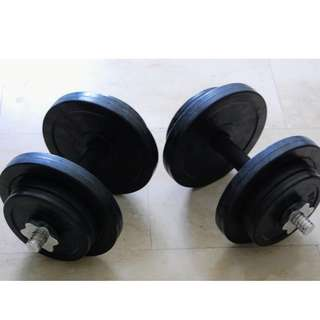 Dumbells with Rubber Coated Plates (34KG total weight including bars)
