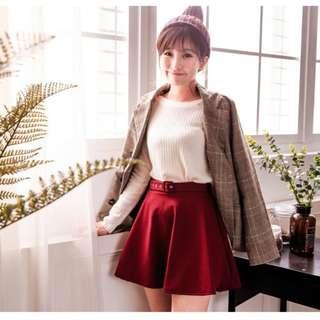 酒紅圓裙(有安全褲)