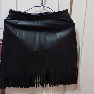 New 黑色流蘇仿皮半截裙 dress skirt black