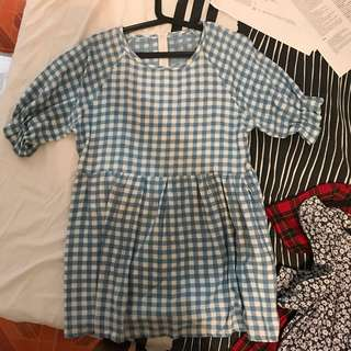 GINGHAM DRESS BLUE CHECKERED FITS S-M