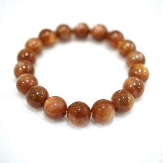 Genuine 11mm Sun Stone bracelet 桔色日光石