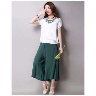 Embroidered Top & Loose Pants TERNO