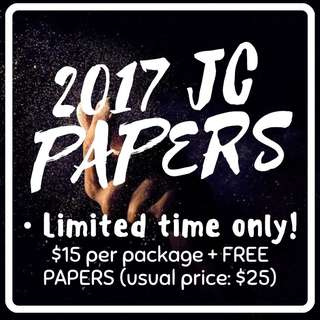 2017 JC PRELIM Exam Papers/Test Papers/ Past Year Papers Now available! ($15 only, usual price $25)