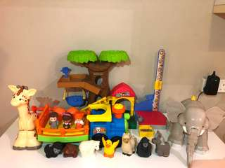 Fisher price little people big animal zoo / choo choo zoo train sets