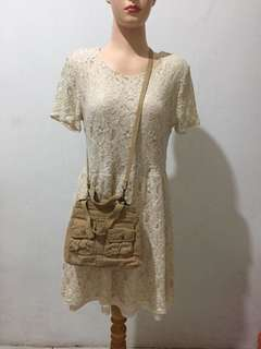 Fossil Authentic Mini Sling Bag + F21 lace dress