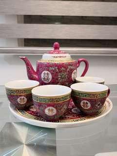 結婚用品 喜字 囍字 敬茶套裝 景德鎮 奉茶 古董 特别 經典 瓷器 紅地洋蓮 文革瓷器