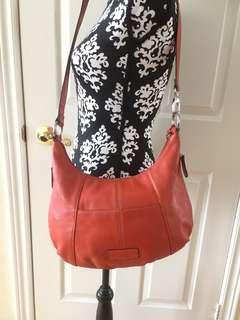 TIGNANELLO Since 1989 Women's Coral Red Genuine Leather Crossbody Handbag
