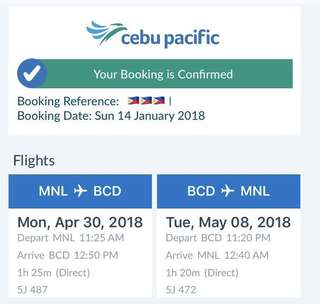 MANILA TO BACOLOD ROUNDTRIP TICKET April 30-May 8, 2018