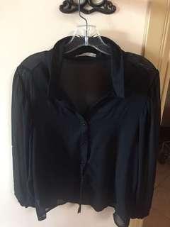 Sheer Black Oversized Polo (Size M)