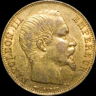 France Gold 20 Francs Emperor Napoleon III 1860 a High Grade AU