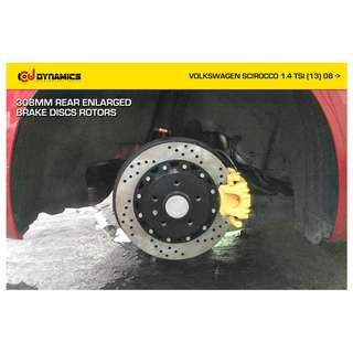 CJ DYNAMICS REAR ENLARGED BRAKE DISCS ROTORS KIT ON VOLKSWAGEN SCIROCCO