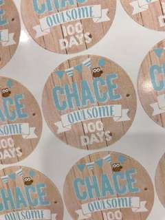 Birthday party sticker labels customised