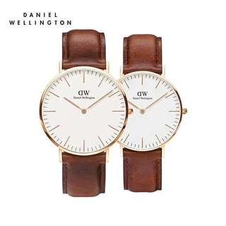 Daniel Wellington Couple watch st maves brown white face 40mm&36mm