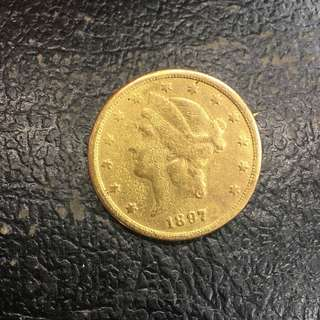 US Liberty Gold antique coin US $25 dollars