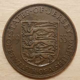 1933 Island of Jersey Great Britain King George V 1/12 Shilling (Penny) Coin