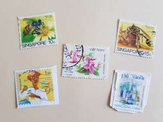 Vietnam, Hong Kong Singapore stamps