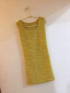 🚚 立體波紋黃色洋裝