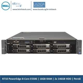 🚚 Dell PowerEdge R710 Virtualization Server Xeon 8 Core E5506 2.13Ghz Processor 16GB DDR3 RAM  2x146Gb SAS 15K RPM Perc6i