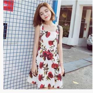 FLORAL DRESS RED ROSE