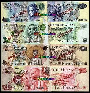GHANA 1 2 5 & 10 CEDIS SET 4 X SPECIMEN NOTES MATCHING NUMBERS UNC