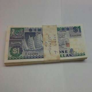 Singapore $1 Ship Series Notes Fancy Number Stack 99 Pieces