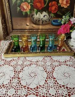 GLASS BOOTS WHISKEY SHOT GLASSES MADE IN ITALY (MOD DEP)