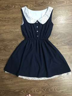 Navy Blue Korean Dress