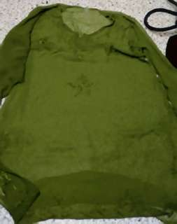 Olive Green See Through Pull Over
