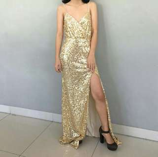 For RENT Gold SEQUINNED long gown/ long dress with SLIT